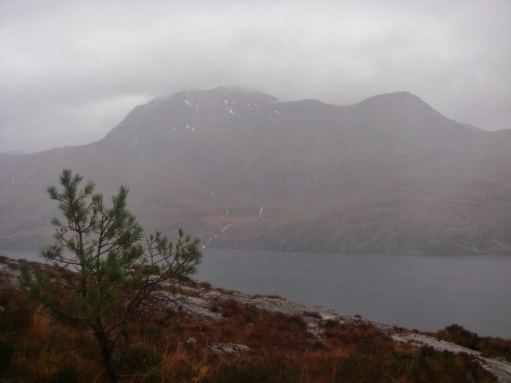 Slioch through the rain without snow