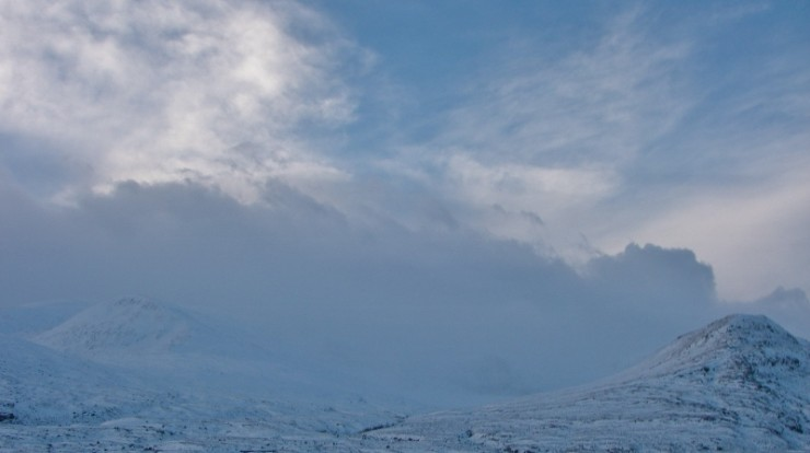 The Fannichs this morning through hazy spindrift. Lots of snow.