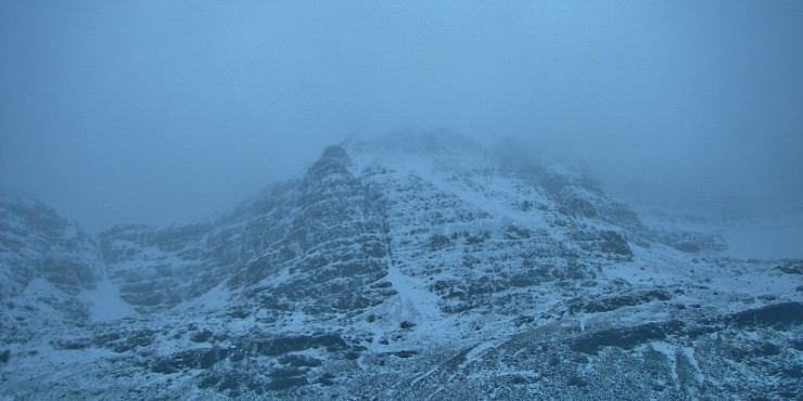 Ice has formed in the usual places in the northern corries of Liathach.