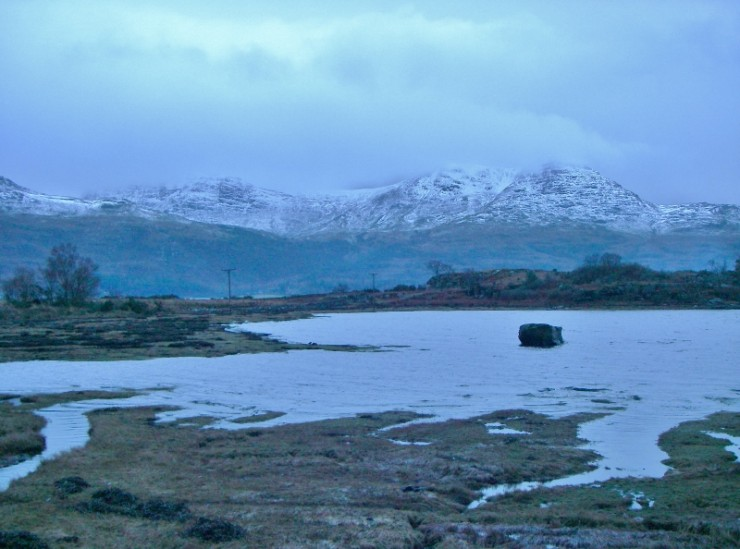 The view from outside the Torridon café across Loch Torridon to Ben Damph