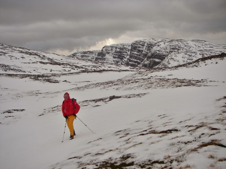 Largest snow drifts on North to North East aspects. Meall Gorm in background.
