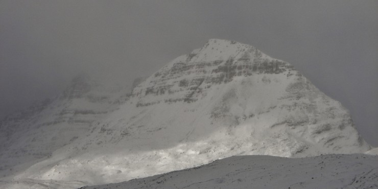 Liathach with snow accumulating on the south side.