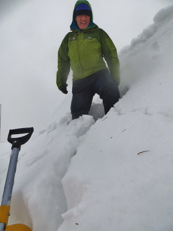 Windslab cracking on a northerly aspect drift below a cornice.