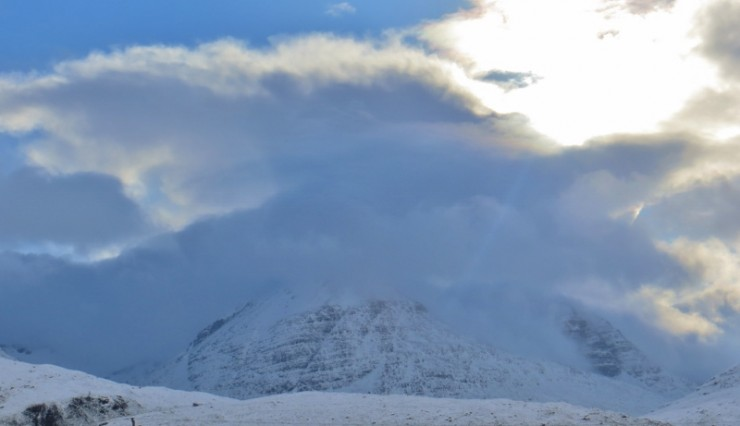 With snowfall in light winds, the north side of Beinn Eighe looked plastered.