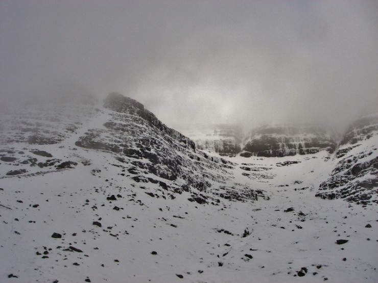 Toll a' Meitheach, south side of Liathach. We avoided the thawing ice at the back!