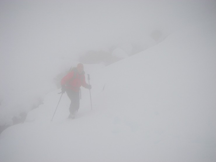 Most of our day looked like this; flogging through deep soft snow.