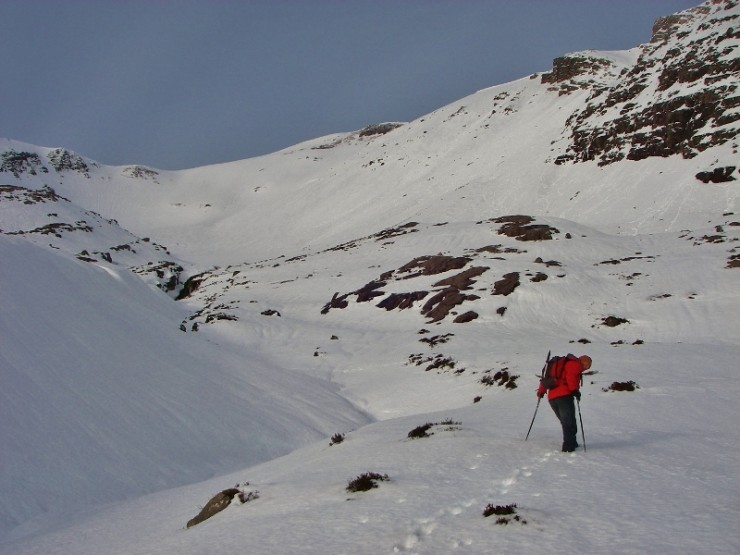 550m, Coire an Laoigh, Beinn Eighe. Picking our line through soft deep snow.