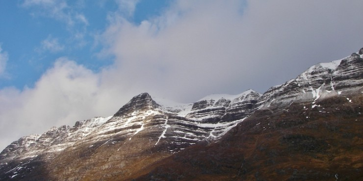 Liathach. Good deposits of snow remain high up. Ice has gone from Pyramid Buttress!