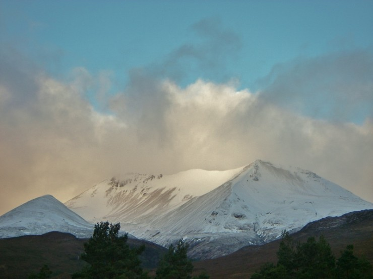 The east end of Beinn Eighe from Kinlochewe. Fresh snow  topped up from Yesterday.
