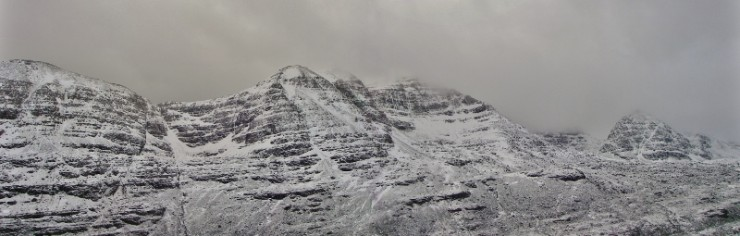 A panorama of the northern corries of Liathach; Coire Dubh Beag, C D Mor, and Coire na Caime