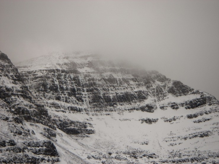 Coire Dubh Mor, Liathach. Some ice still hanging around, Poacher's Fall the most obvious line.