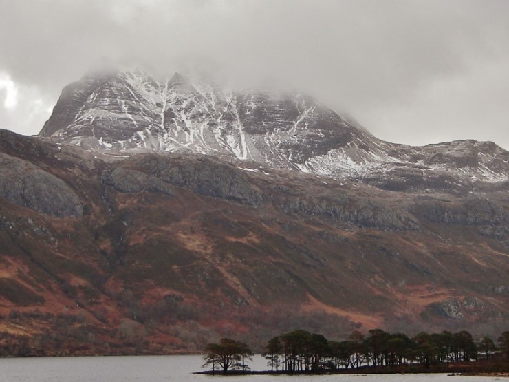 Slioch emerging from a snow shower.