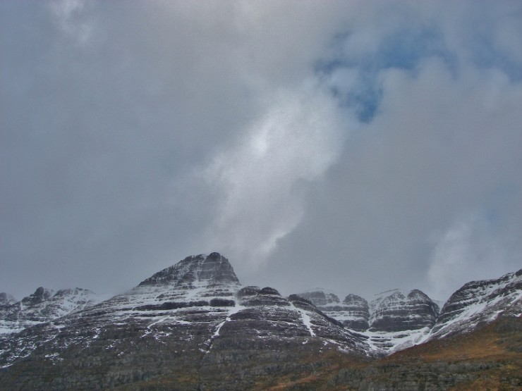 Liathach. Pyramid Buttress and Coire Leith. Slivers of ice reforming.
