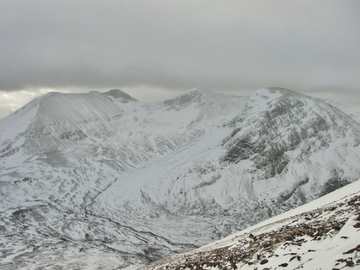 East end of Beinn Eighe. Exposed ridges and summits are generally clear.