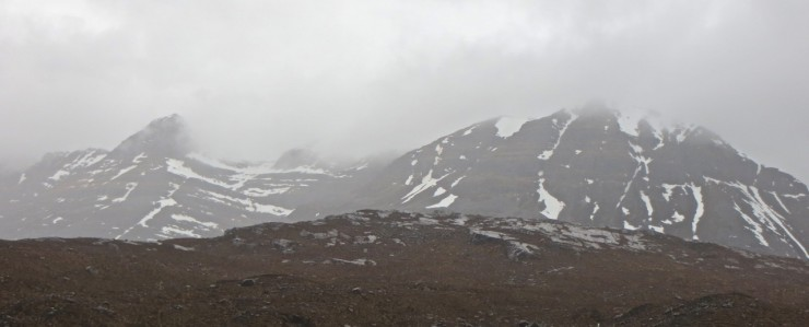 South side Liathach with patchy snow. Summit ridges  remain clear of snow.