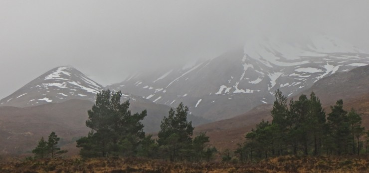 Beinn Eighe. Main couloirs have snow, soft now but likely to be firm as freezing level falls.