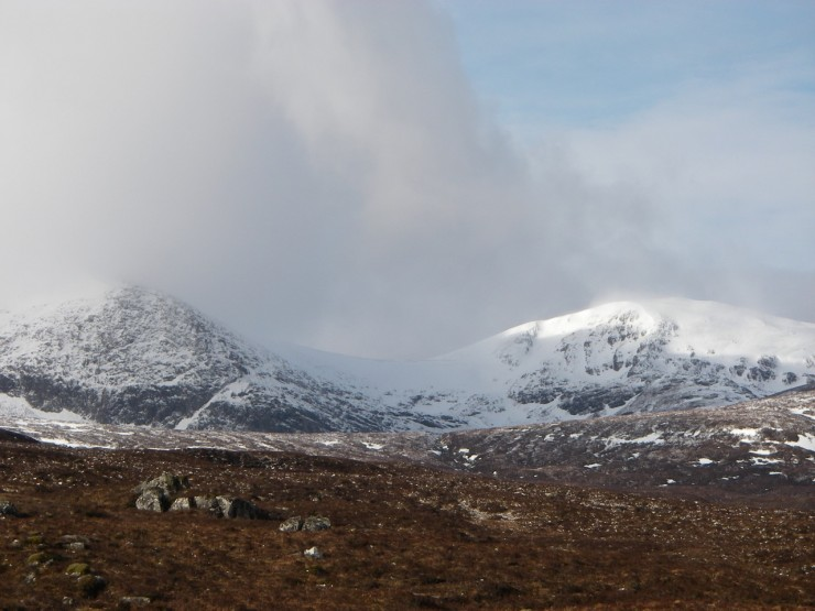 Much old snow exists on North East aspects of Meall a' Chrasgaidh, Fannichs.