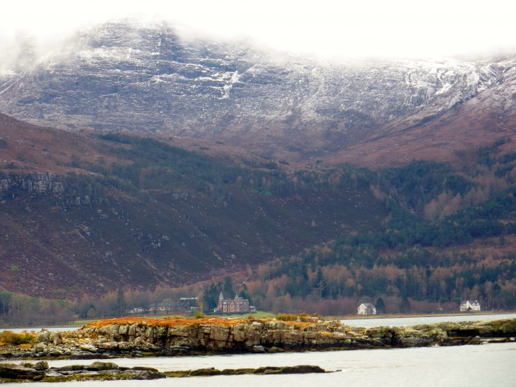 Looking South from Torridon village cafe to the Torridon Hotel.