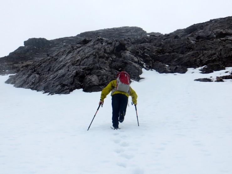 Approaching the foot of the buttress at 500 metres on Creag Dhubh, Beinn Eighe.