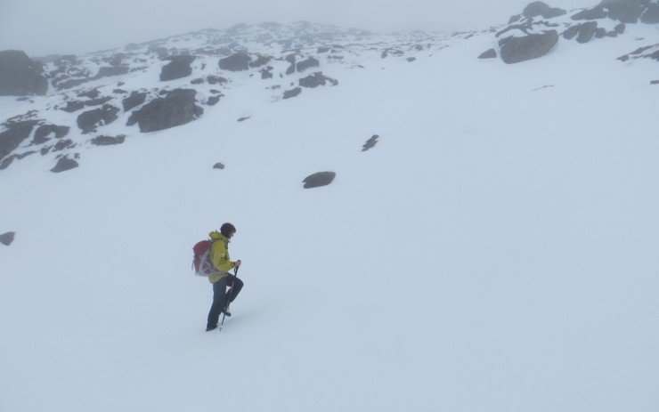 Wet snow on an Easterly aspect at 600 metres in Coire an Laoigh