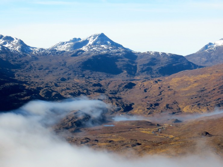 We soon rose above the cloud as it began to clear. Looking towards The Ling Hut.