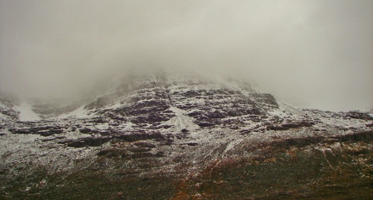 Northern corries of Liathach with cloud down to 700m.