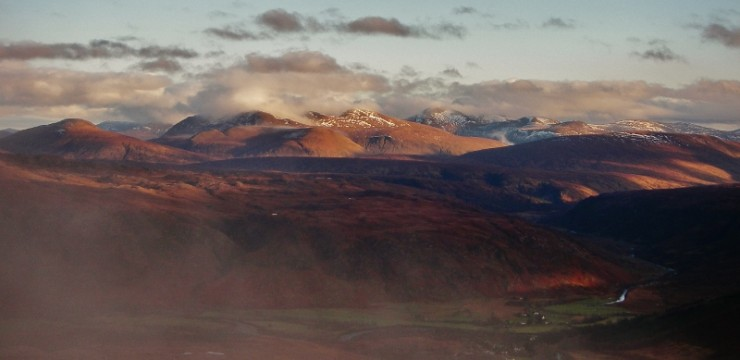 The stripped Fannich mountains from Beinn Eighe.