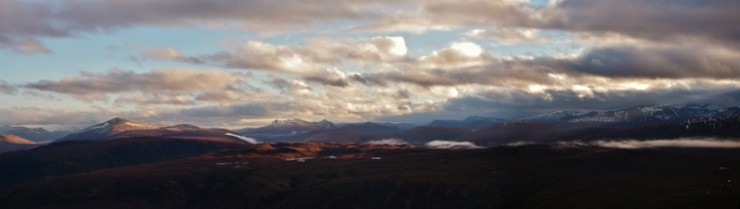 Panorama to the east from Beinn Eighe, Moruisg and Monar Hills on right.
