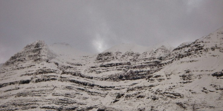 Spindrift blowing off the summit of Liathach onto southerly aspects.