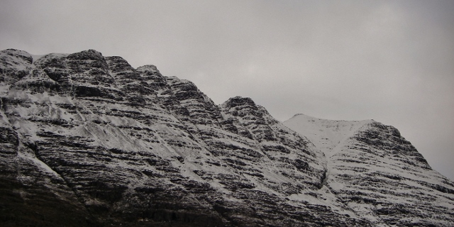 Fasarinen Pinnacles, south side of Liathach. Ice forming on Pyramid Buttress on the right.