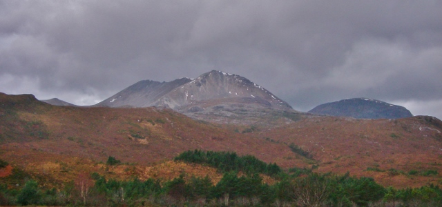 Creag Dubh (902m) east end Beinn Eighe. Normally holds the most snow in the Torridon hills