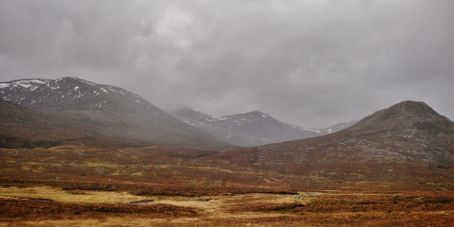 The gloomy northern Fannich mountains.