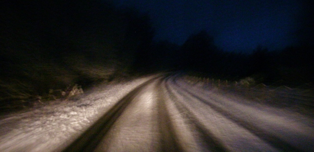 More snow on the roads today than on the hill?