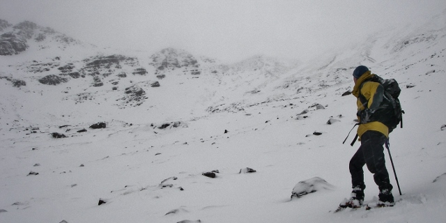Coire an Laoigh, beinn Eighe. Today's snow profile site. Out with the famous mountaineer!