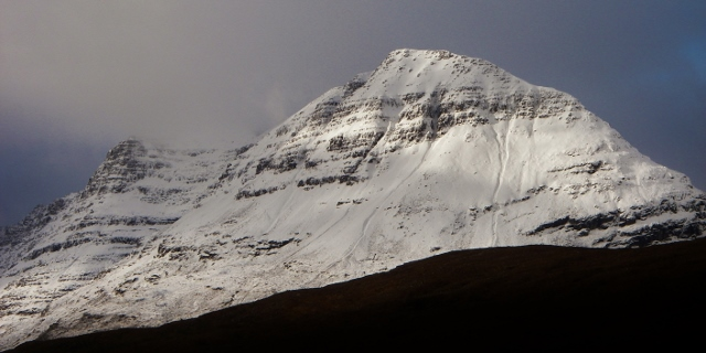 Liathach. Ice is noticeably re-forming on the south side.