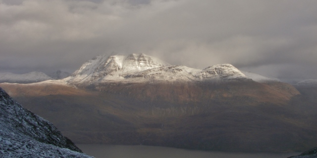Slioch. Defined snow line at 500m. Less snow on the  Southerly aspects.