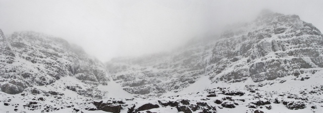 Liathach - Coire Dhiubh Bhig. Still some ice - 'The Snotter' on the left being the best line in the NW!