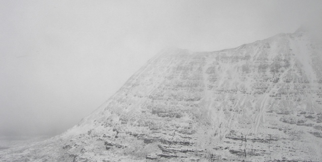 Sail Mhor, Beinn Eighe, South aspect. Although a South wind, spindrift was blowing across the face - local eddies!