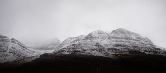 Toll a' Meitheach, south side Liathach. Spindrift and cross loading.