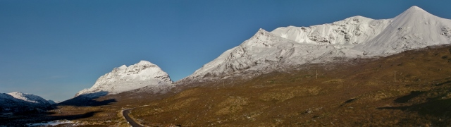 South side Liathach and Beinn Eighe. Single point avalanches visible from the road.
