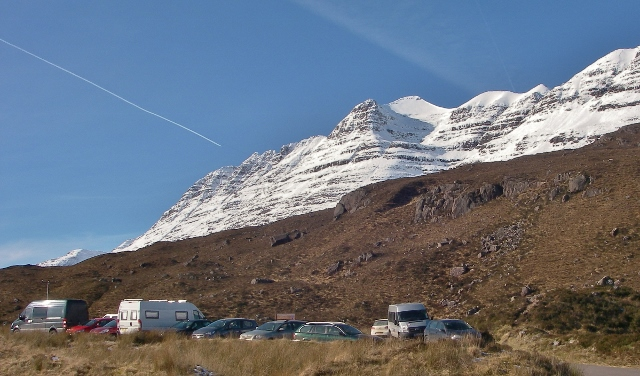 A busy car park in Glen Torridon.