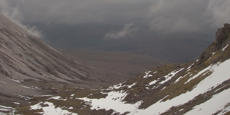 Low cloud and high snowline in Glen Torridon.